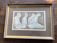 Students by New York Artist Irving Amen: Etching - Artist Proof