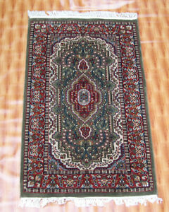 Rugs Green Red Color 2.6'x4' Carpet Hand Knotted Living Room Traditional Chobi