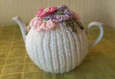 Hand Knitted Tea Cosy With pink, lilac and lemon flowers.  Summer. Button decor.