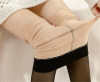 Women Warm Fleece Plush Winter Fake Skin Nude Black Pantyhose Stockings Tights