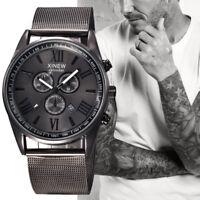 Herren Mode Luxus Armbanduhr Edelstahl Datum Sport Analog Quarz Armbanduhren