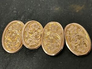 Vintage Solid 375 9ct Yellow Gold oval Engraved Circles Pair of Cufflinks