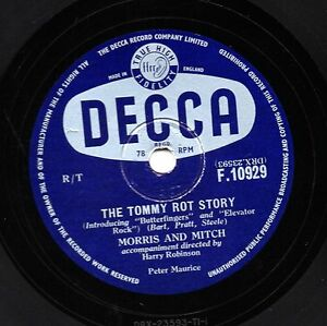 MORRIS & MITCH COMEDY 78 THE TOMMY ROT STORY/ WHAT IS A SKIFFLER DECCA F10929 E-