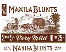 Vintage Manila Blunts Cigar Box Crate Label White Brown w/ Gold Texture USA