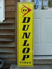 """DUNLOP TIRES VINTAGE VERTICAL STYLE 3 COLOR 1'X46"""" METAL DEALER/SERVICE SIGN"""