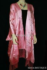 Embroidered Silk Kimono Caftan Duster Opera Coat Rose Pink Maya Matazaro Plus