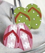 Nautical Beach Seaside Flip Flop Sandal Shower Curtain Hooks Tropical Bath Decor