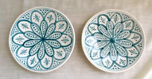 Pair of Vintage Hand Decorated Plates, Morocco, Signed - Serghini Safi