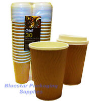 30 x 16oz Ripple Effect Insulated Premium Chinet Coffee Cups and Lids