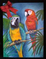 Parrots birds painting gift mccaws  pet original artist acrylic on canvas