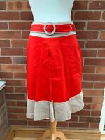 M&Co Red Beige Knee Length Flare Skirt Belt 12 Ladies Pockets BNWT