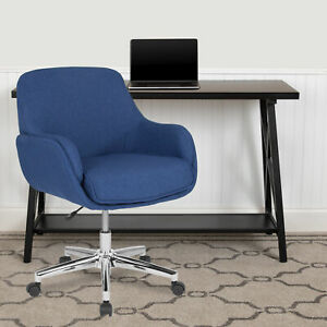 Rochelle Home and Office Upholstered Mid-Back Chair in Blue Fabric