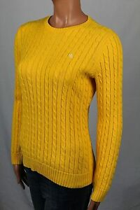 Ralph Lauren Yellow Cable Knit Crewneck Sweater White LRL NWT