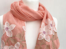 Beautiful Embroidery Scarf Flower Soft Viscose Wrap Stole Hijab Large Scarves