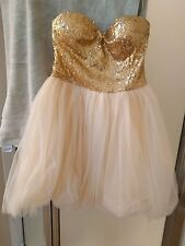 Beautiful short, strapless gold sequin formal dress, size Medium homecoming/prom
