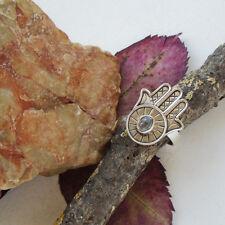 Herkimer Diamant, Fatima's Hand, Hamsa, Ring, Ø 18,5 mm, 925 Sterling Silber