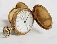 14kt Gold Elgin Natl 918129 Warranted 14k U.S. Assay Pocket Watch Hunter Case SN