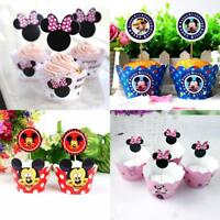 24pcs Pink Minnie Mickey Paper Cupcake For Kids Party Birthday Decor Multicolor