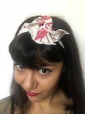 Bandeau foulard cheveux rigide cordon maléable blanc à flamants roses flamingos