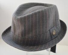 GOORIN BROS Jennings Grey Brown Striped Fedora Hat Size L Large NWT