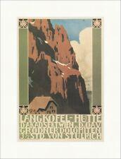 Langkofel Hütte Dolomiten Grödner Wien Barth Gebirge Kunstdruck Plakatwelt 143