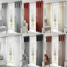 Madeira Crushed Silk Metallic Eyelet Voile Panels Sheer Ring Top Curtain Pairs