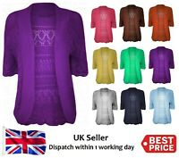 New PLUS Size Ladies Crochet Knitted Bolero Shrug Open Front Cardigan Top 16-28