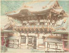 Yomeimon Gate, Nikko, Japan.  1880s Hand Coloured Albumen Photograph