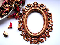Oval Vintage Frame Brown Gothic Photo Frame Covered With Gold Patina Size 5.9in