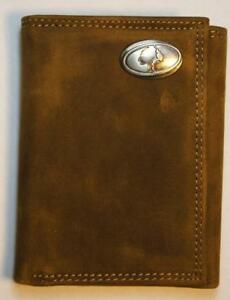 ZEP PRO Mossy Oak LOGO Crazy Horse Leather Trifold Wallet Tin Gift Box