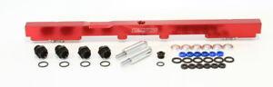 AEROFLOW Billet EFI Fuel Rails (Red) Suit Toyota 2JZ (14mm Injectors)