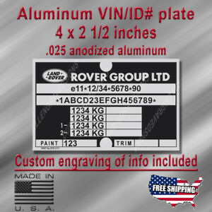LAND ROVER Defender VIN / Data Plate reproduction with custom engraving included