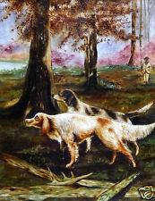 "B.K. Schnitzer (US, 19th C.) Folk Art Oil Painting ""Colonial Hunting Dog Scene"""