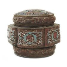 RARE ANTIQUE ROUND CHINESE BRONZE DETAILED DESIGN CLOISONNE ENAMEL VANITY JAR