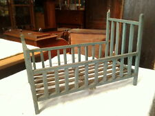 Wood BLUE BED for Baby Doll Early Primitive Antique Folk Art 1930 Era