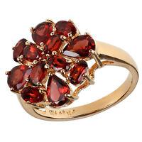 Damen Cocktail Ring echt 925 Sterling Silber vergoldet mit Granat rot gold groß