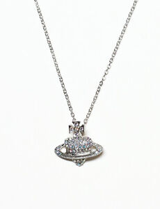 Crystal Saturn Heart Orb Necklace Crystal Planet Chain Gold Silver Colour