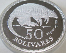 ROYAL EXCELLENT ÉTAT VENEZUELA 1975 50 BOLIVARS ARGENT REPRODUCTION ARMADILLO
