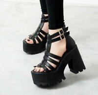 Women's Gladiator Punk Chunky Heels Platform Strap Buckle Open Toe Sandals Shoes