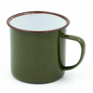 Green Enamel Cup Mug Vintage Style for Drinking Coffee Bear Tea Camping Hiking