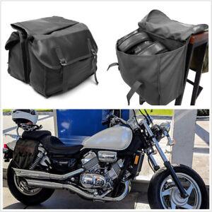 Black Canvas+Lather Motorcycle ATV Saddle Bag Rear Tail Storage Bag Universal