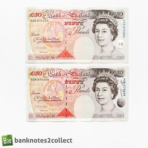 ENGLAND: 2 x 50 English Pound Bnaknotes with Consecutive Serial Numbers