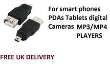 USB A Hembra Mini B 5pin Convertidor Adaptador para smartphones,cámaras MP3