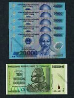 10 Trillion Zimbabwe Dollars + 5 x 20000 Vietnam Dong Banknotes UNC Uncirculated