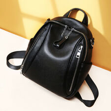 Double Zippers Natural Real Genuine Cow Leather Women's Backpack Schools Bags