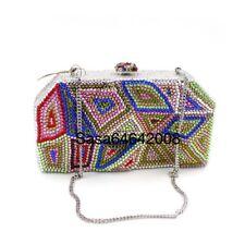 Evening luxury Multi color crystal clutch purse handmade handbag