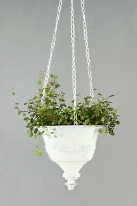 Nostalgische Blumen-ampel Shabby Pflanz-Hänge-Topf Metall Weiß Lilie Landhaus