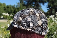 Cycling cap SKULL WITH SHINE LINES GOLD   one size 100% COTTON   handmade