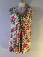 Tom Joule Size 12 Long Tunic Joules Flower Floral With Pockets Mini Dress Cream