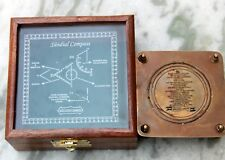 Antique Vintage Marine Square Sundial Compass W/Wooden Box Directional Gift Item